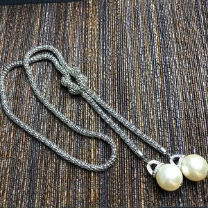 Silver pearl knot necklace